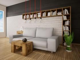 简约沙发与吊灯图片
