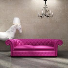 时尚的粉色沙发和白马台灯图片