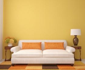 简约沙发与台灯图片