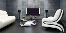 白色沙发与电视图片